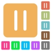 Media pause rounded square flat icons - Media pause flat icons on rounded square vivid color backgrounds.