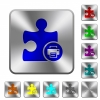 Printer plugin rounded square steel buttons - Printer plugin engraved icons on rounded square glossy steel buttons