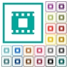 Movie stop flat color icons with quadrant frames - Movie stop flat color icons with quadrant frames on white background