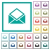 Open mail flat color icons with quadrant frames - Open mail flat color icons with quadrant frames on white background