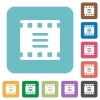 Movie options rounded square flat icons - Movie options white flat icons on color rounded square backgrounds