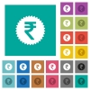 Indian Rupee sticker square flat multi colored icons - Indian Rupee sticker multi colored flat icons on plain square backgrounds. Included white and darker icon variations for hover or active effects.