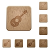 Acoustic guitar wooden buttons - Acoustic guitar on rounded square carved wooden button styles