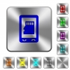 Mobile memory card rounded square steel buttons - Mobile memory card engraved icons on rounded square glossy steel buttons