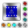 Movie warning rounded square steel buttons - Movie warning engraved icons on rounded square glossy steel buttons