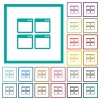 Mosaic window view mode flat color icons with quadrant frames - Mosaic window view mode flat color icons with quadrant frames on white background