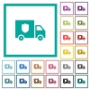 Money deliverer truck flat color icons with quadrant frames - Money deliverer truck flat color icons with quadrant frames on white background
