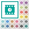 Movie playing time flat color icons with quadrant frames - Movie playing time flat color icons with quadrant frames on white background