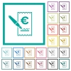 Signing Euro cheque flat color icons with quadrant frames - Signing Euro cheque flat color icons with quadrant frames on white background