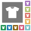 T-shirt square flat icons - T-shirt flat icons on simple color square backgrounds