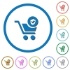 Secure shopping icons with shadows and outlines - Secure shopping flat color vector icons with shadows in round outlines on white background