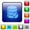 Expand database icons in rounded square color glossy button set - Expand database color square buttons