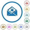 Open mail with malware symbol icons with shadows and outlines - Open mail with malware symbol flat color vector icons with shadows in round outlines on white background