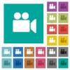 Video camera square flat multi colored icons - Video camera multi colored flat icons on plain square backgrounds. Included white and darker icon variations for hover or active effects.