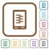 Mobile compress data simple icons - Mobile compress data simple icons in color rounded square frames on white background
