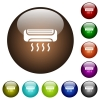 Air conditioner color glass buttons - Air conditioner white icons on round color glass buttons