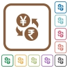 Yen Rupee money exchange simple icons - Yen Rupee money exchange simple icons in color rounded square frames on white background