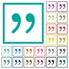 Quotation mark flat color icons with quadrant frames - Quotation mark flat color icons with quadrant frames on white background