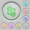 Pound Dollar money exchange push buttons - Pound Dollar money exchange color icons on sunk push buttons