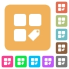 Tag component rounded square flat icons - Tag component flat icons on rounded square vivid color backgrounds.