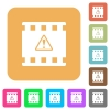 Movie warning rounded square flat icons - Movie warning flat icons on rounded square vivid color backgrounds.