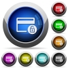 Unlock credit card transactions round glossy buttons - Unlock credit card transactions icons in round glossy buttons with steel frames