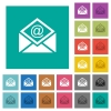 Open mail with email symbol square flat multi colored icons - Open mail with email symbol multi colored flat icons on plain square backgrounds. Included white and darker icon variations for hover or active effects.