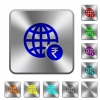 Online Rupee payment rounded square steel buttons - Online Rupee payment engraved icons on rounded square glossy steel buttons