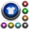 T-shirt round glossy buttons - T-shirt icons in round glossy buttons with steel frames