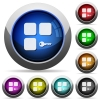Secure component round glossy buttons - Secure component icons in round glossy buttons with steel frames