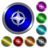 Map directions luminous coin-like round color buttons - Map directions icons on round luminous coin-like color steel buttons
