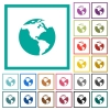Earth flat color icons with quadrant frames - Earth flat color icons with quadrant frames on white background