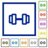Barbell flat framed icons - Barbell flat color icons in square frames on white background