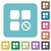 Component disabled rounded square flat icons - Component disabled white flat icons on color rounded square backgrounds