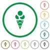 Ice cream flat icons with outlines - Ice cream flat color icons in round outlines on white background