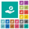 Ruble earnings square flat multi colored icons - Ruble earnings multi colored flat icons on plain square backgrounds. Included white and darker icon variations for hover or active effects.