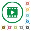 Movie play flat icons with outlines - Movie play flat color icons in round outlines on white background