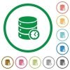 Database timed events flat icons with outlines - Database timed events flat color icons in round outlines on white background