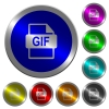 GIF file format luminous coin-like round color buttons - GIF file format icons on round luminous coin-like color steel buttons