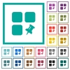 Pin component flat color icons with quadrant frames - Pin component flat color icons with quadrant frames on white background