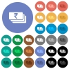 Indian Rupee banknotes round flat multi colored icons - Indian Rupee banknotes multi colored flat icons on round backgrounds. Included white, light and dark icon variations for hover and active status effects, and bonus shades on black backgounds.