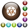 Indian Rupee casino chip color glass buttons - Indian Rupee casino chip white icons on round color glass buttons
