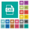 CAB file format square flat multi colored icons - CAB file format multi colored flat icons on plain square backgrounds. Included white and darker icon variations for hover or active effects.