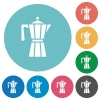 Coffee maker flat round icons - Coffee maker flat white icons on round color backgrounds