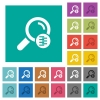 Search in compressed files square flat multi colored icons - Search in compressed files multi colored flat icons on plain square backgrounds. Included white and darker icon variations for hover or active effects.