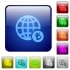 Online Lira payment color square buttons - Online Lira payment icons in rounded square color glossy button set