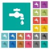 Water faucet with water drop square flat multi colored icons - Water faucet with water drop multi colored flat icons on plain square backgrounds. Included white and darker icon variations for hover or active effects.