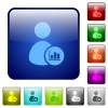 User account statistics color square buttons - User account statistics icons in rounded square color glossy button set