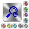 Search photo rounded square steel buttons - Search photo engraved icons on rounded square glossy steel buttons