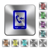 Mobile incoming call rounded square steel buttons - Mobile incoming call engraved icons on rounded square glossy steel buttons